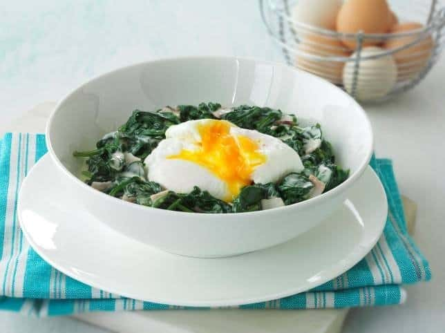 poached egg and creamy spinach dip