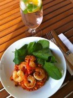 Pitango Organic Tomato Risotto with Prawns and Green Leaves