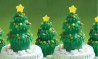 Jelly Belly Decorated Christmas tree cupcakes