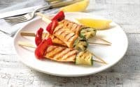 Salmon and Veggie Kebabs, cooked in under ten minutes